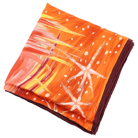 Hermes Feu du Ciel Red Orange 90cm Silk Twill Scarf
