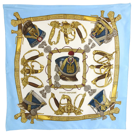 Hermes Grand Uniforme Turquoise Blue Silk 90cm Scarf