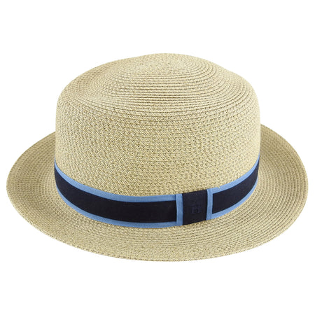 Hermes Straw Hat with Navy Blue H Ribbon Band