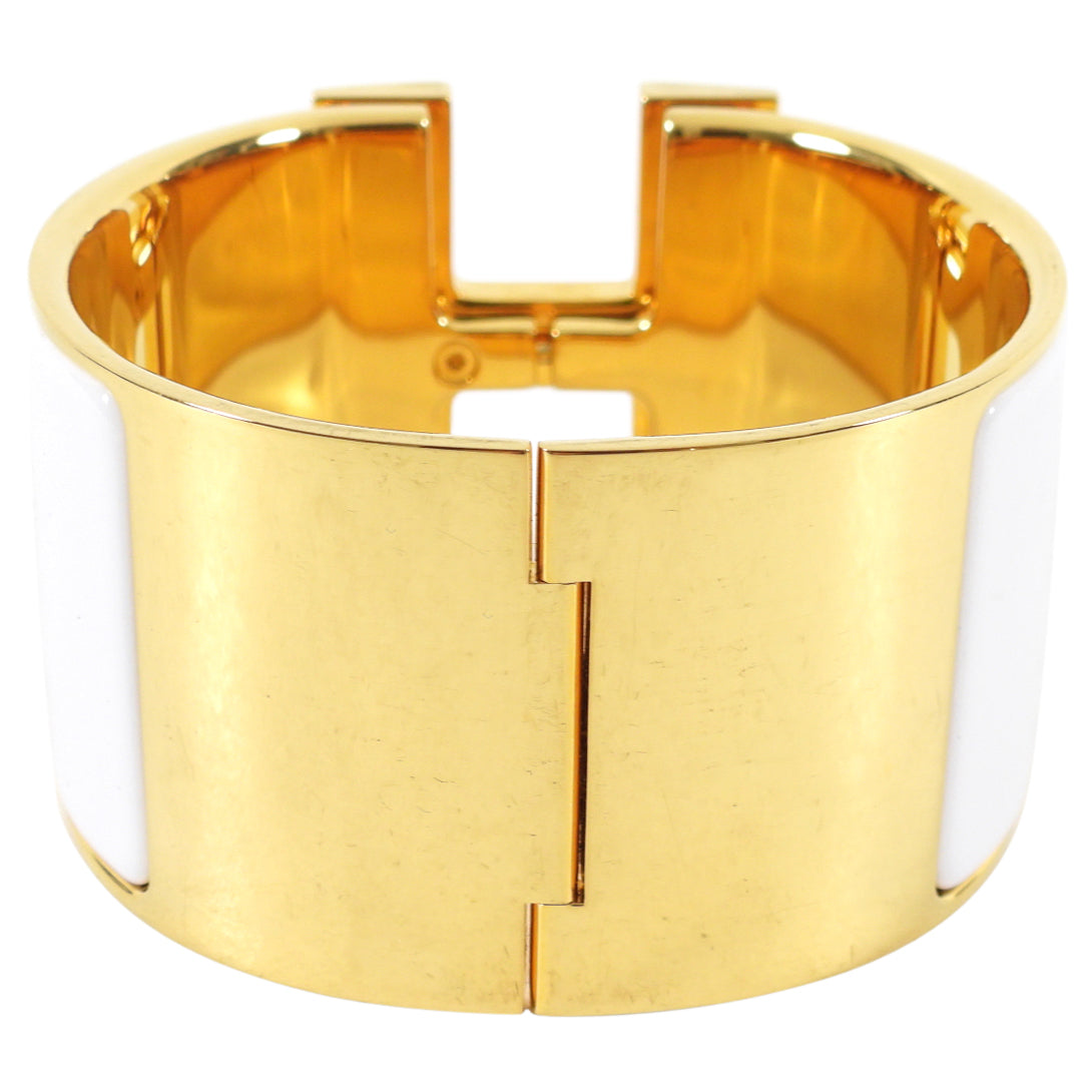Hermes Extra Wide Clic H Bracelet in White and Gold