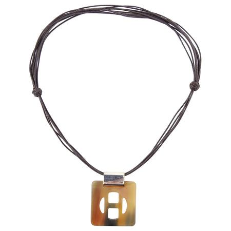 Hermes Horn H Necklace on Cord