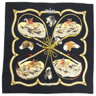 Hermes Le Laisser Courre Black Hunting Dogs 90cm Silk Scarf