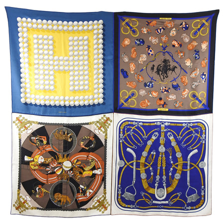 Hermes Patch Giant Silk Twill 140 Shawl Scarf - Blue, Brown, Yellow