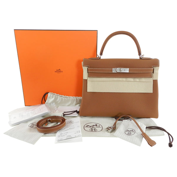 Hermes Kelly II Retourne 32 Gold Togo Palladium Hardware Bag