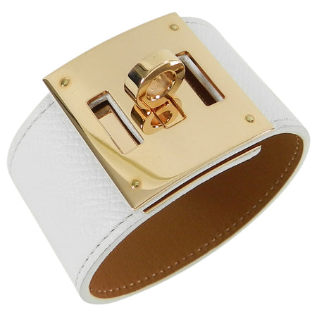 Hermes Kelly Dog Bracelet White Epsom Leather with Rose Gold PM