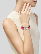 Hermes Kelly Double Tour Bougainvillea Lizard Wrap Bracelet