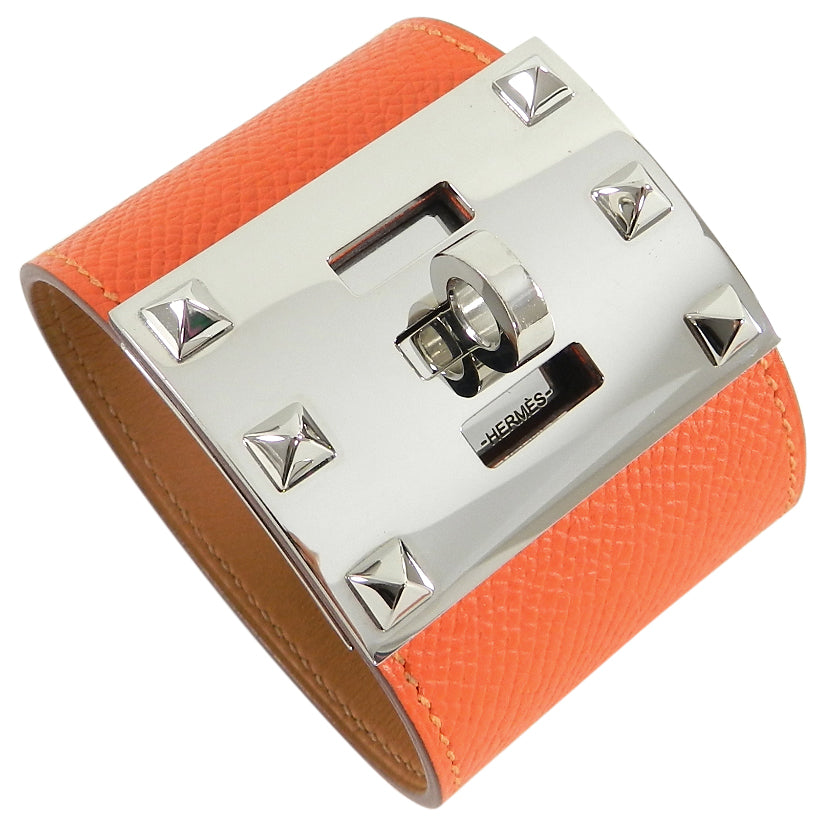 Hermes Kelly Extreme Orange Epsom Leather Cuff Bracelet