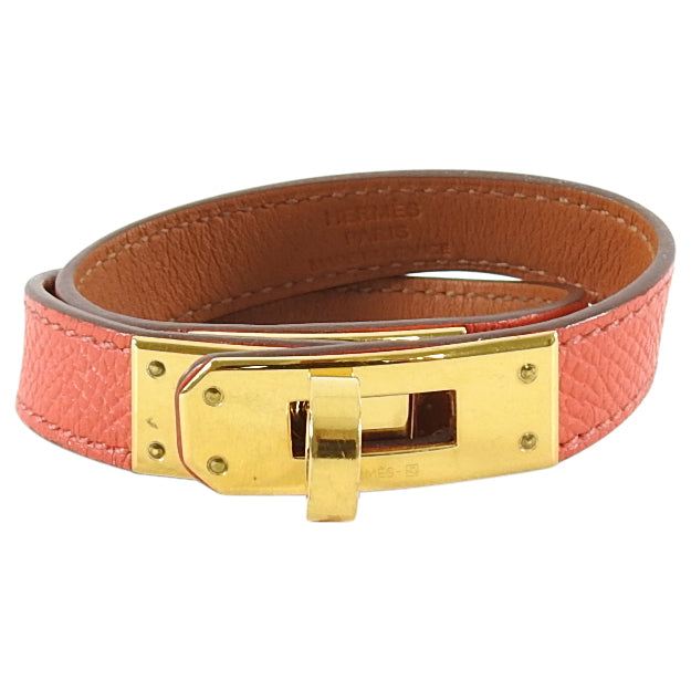 Hermes Kelly Double Tour Bracelet Rose Jaipur Gold Hardware XS