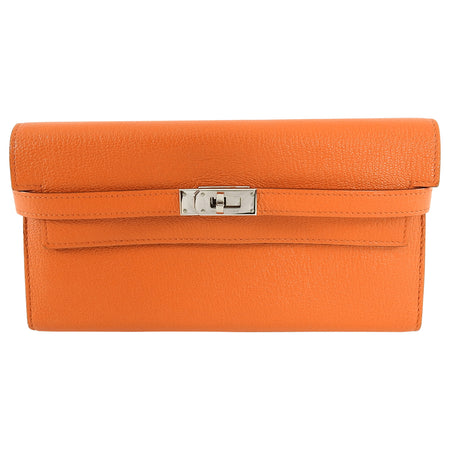 Hermes Orange Kelly Classic Longue Wallet Chevre
