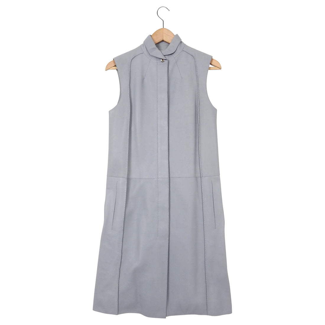 Hermes Light Blue Lambskin Leather Sleeveless Dress – FR34 / USA 2 / 4