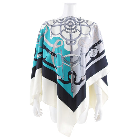 Hermes L'Eperon D'Or Turquoise Silk Scarf Poncho Shawl