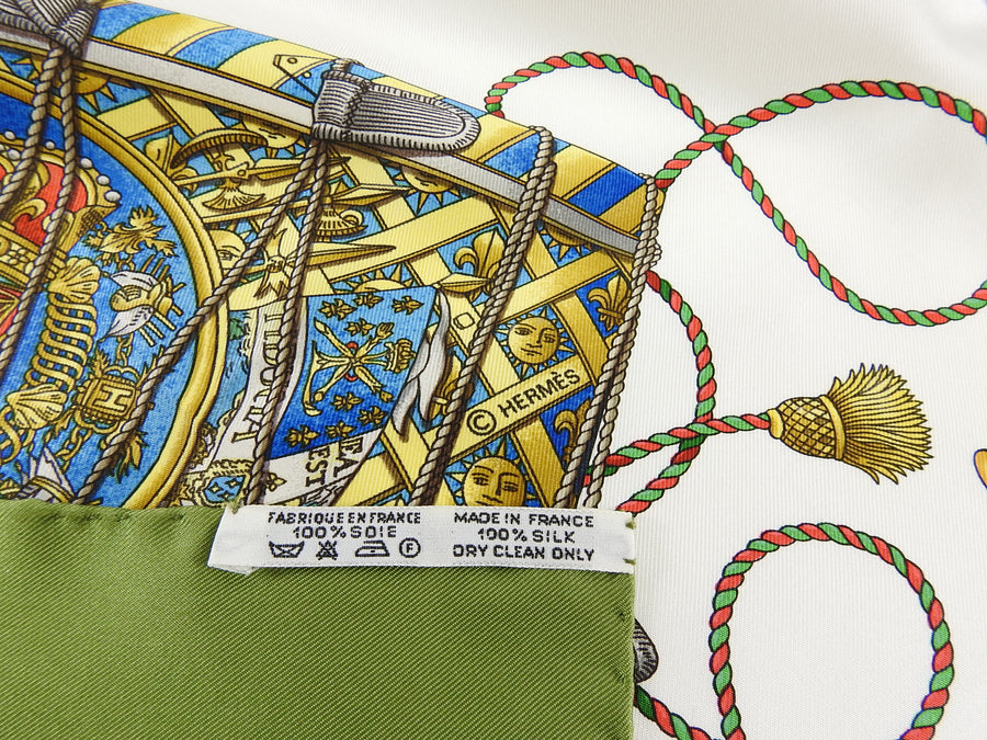 Hermes Les Tambours Olive Green 90cm Silk Scarf