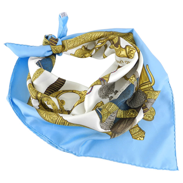 Hermes Grand Uniforme Light Baby Blue and White 90cm Scarf