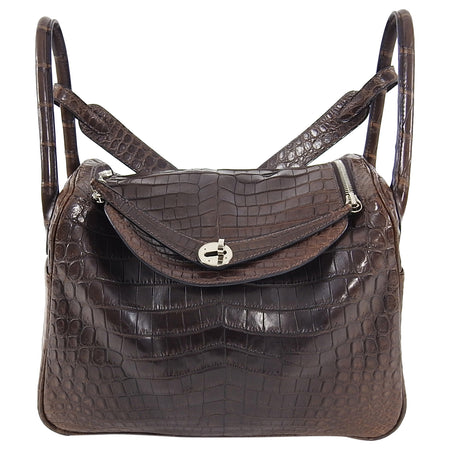 Hermes Exotic Niloticus Crocodile Matte Chocolat Dark Brown Lindy 30 PHW