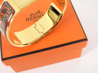 Hermes Vintage Red and Gold Printed Horse Hinge Loquet Bracelet