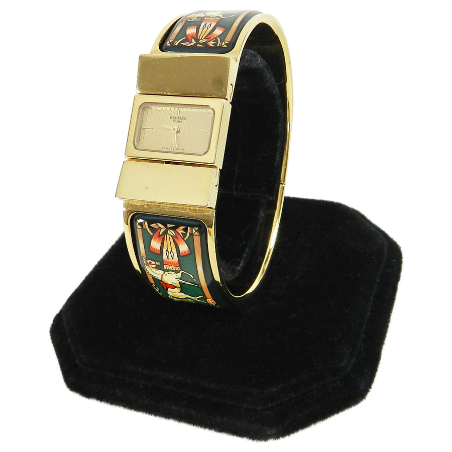 Hermes Vintage Green Enamel and 18k Gold Plated Loquet Watch