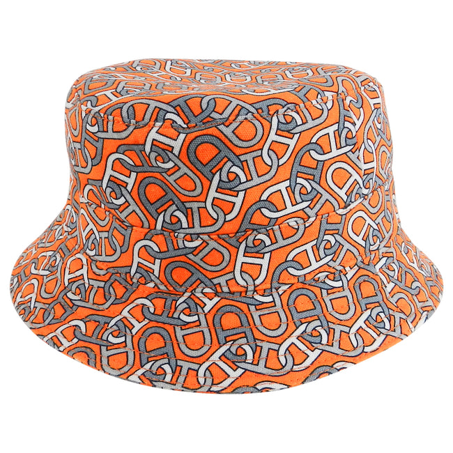 Hermes Orange Cotton Bucket Hat with Chain Design
