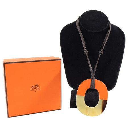 Hermes Orange Resin and Horn Isthme Pendant Necklace