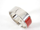 Hermes Red and Silver Clic H Wide Bracelet