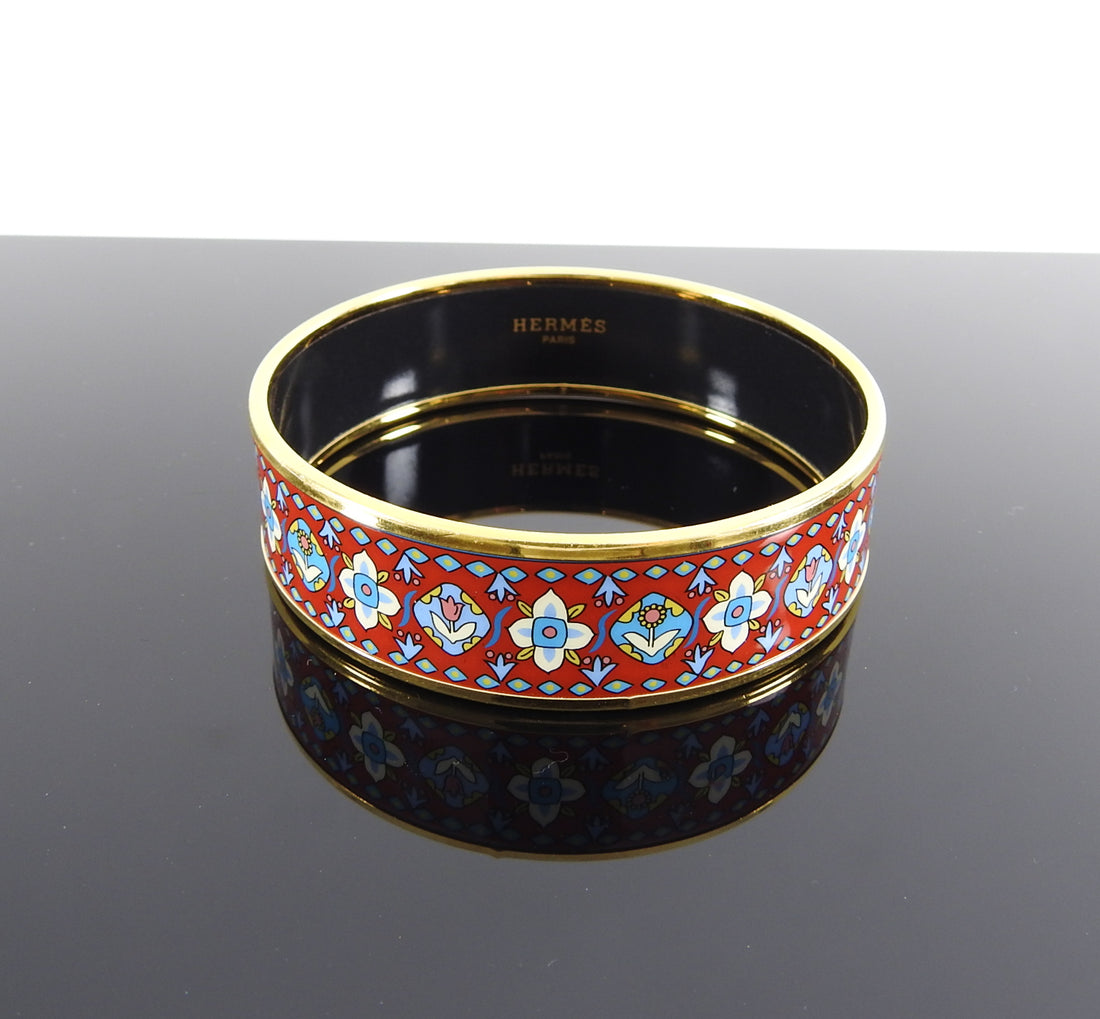 Hermes Red Floral and Gold Printed Wide Bangle Bracelet