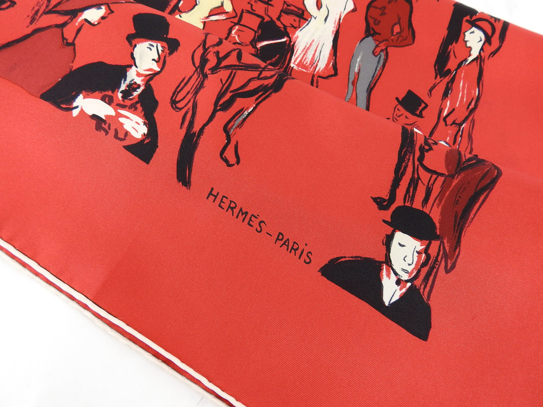 Hermes Red Silk Paddock 90cm Scarf by Jean-Louis Clerc