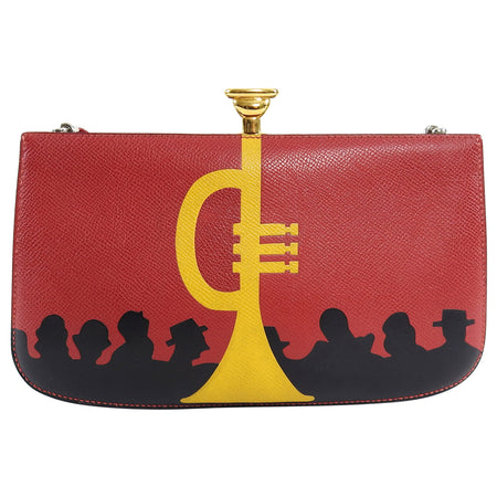 Hermes Vintage 1990 Sac a Malice Red Yellow Trumpet Silhouette Bag