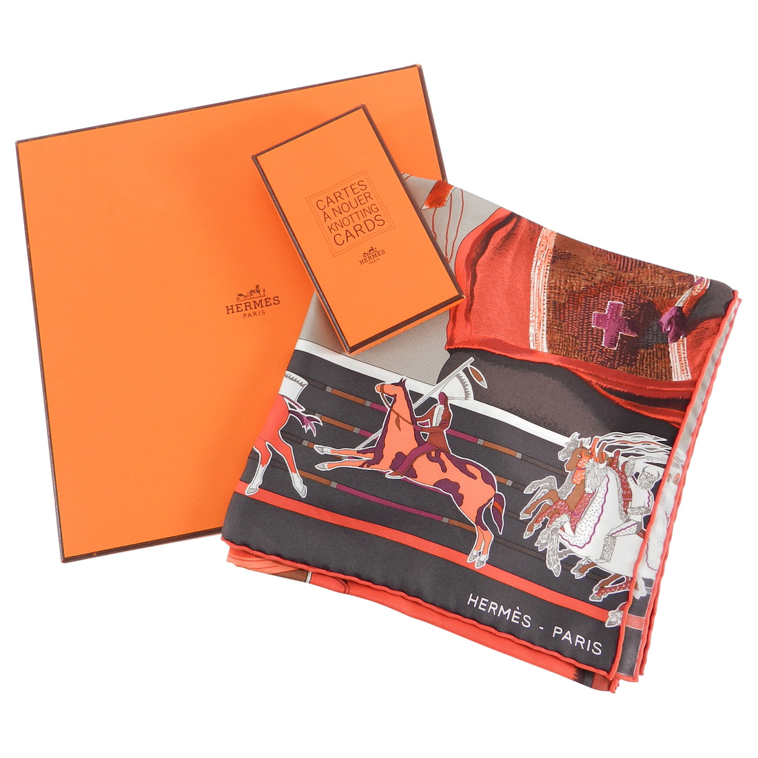 Hermes Carre en Carres 90cm Silk Twill Scarf and Knotting Cards