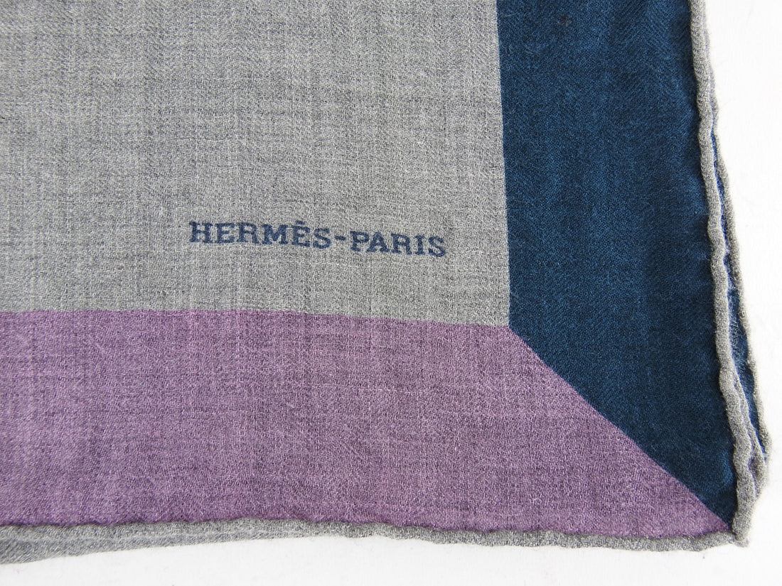 Hermes Cashmere Silk 140cm Shawl Wrap Grey with Purple Teal Border