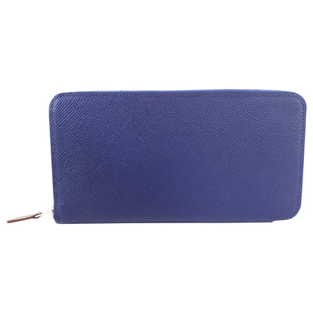 Hermes Blue Silk in Classic Long Zip Wallet