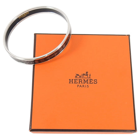 Hermes Printed Enamel Narrow Silver and White Bangle Grand Apparat 2