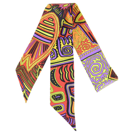 Hermes Twilly Scarf - orange Red Black Purple
