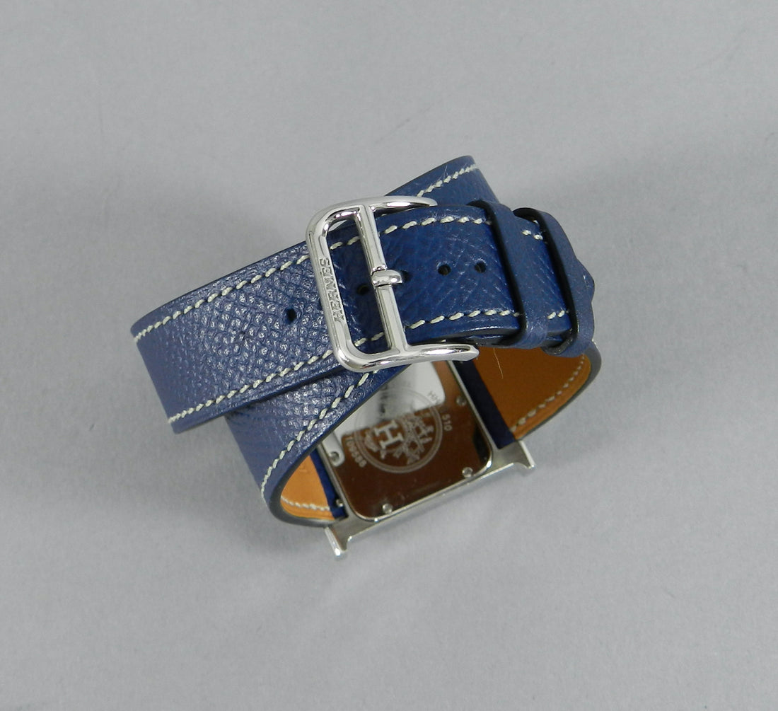 Hermes H Heure Double Tour HH1510 Medium Epsom Blue Watch