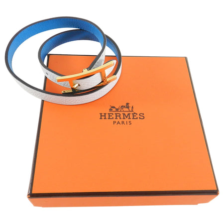 Hermes Behapi Double Tour Bracelet in Bleu Brighton and Blanc
