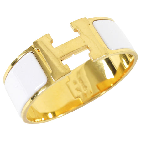 Hermes Clic Clac H White and Gold GM Wide Bracelet