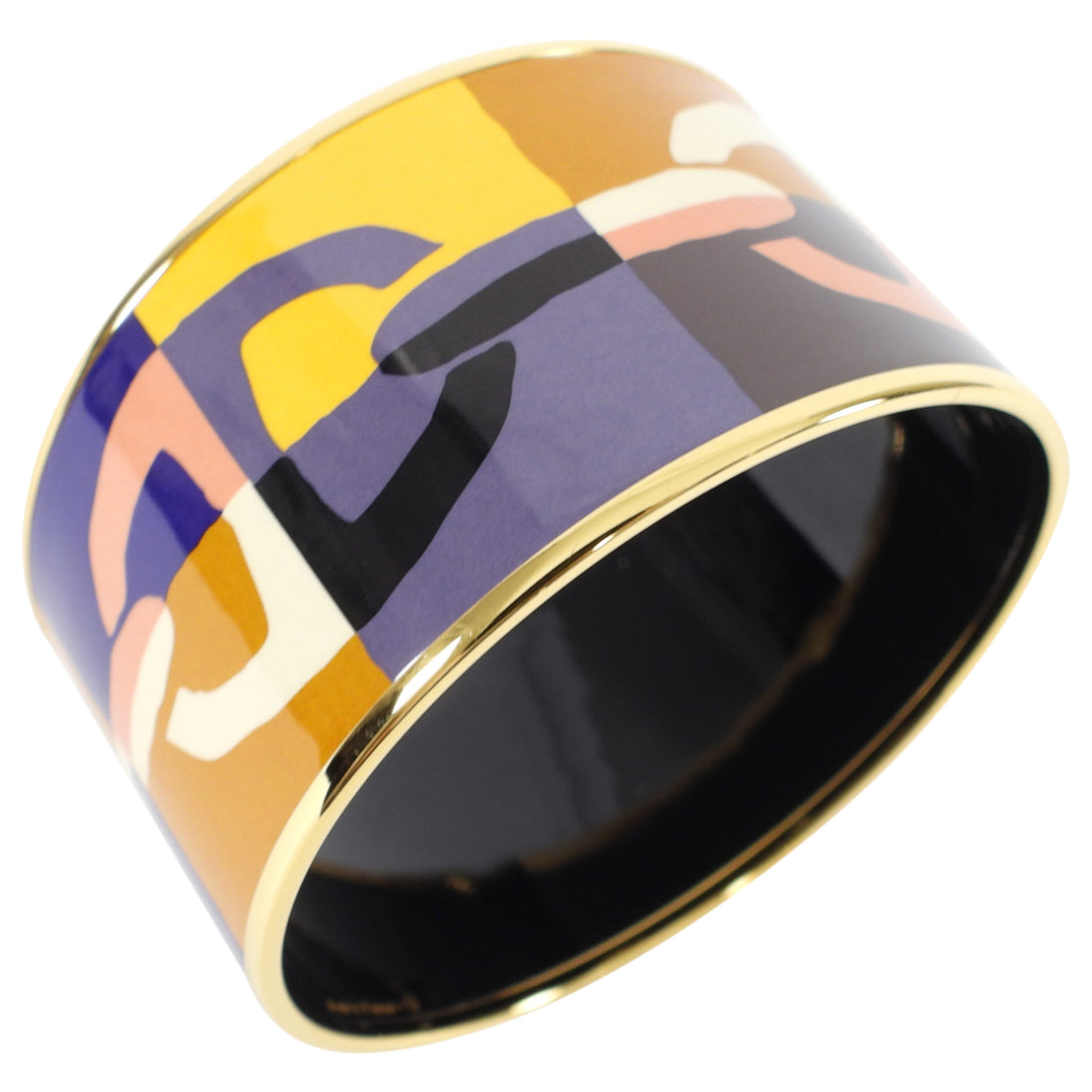 Hermes Extra Wide Printed Yellow Purple Chaine D'Ancre Bangle