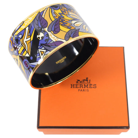 Hermes Extra Wide Printed Purple Yellow Floral Bangle Bracelet