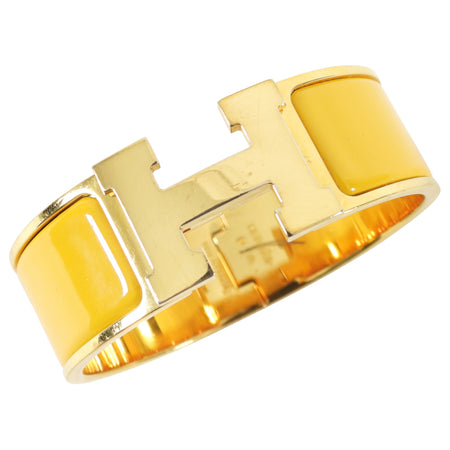 Hermes Mustard Yellow and Gold Clic H Wide Bracelet
