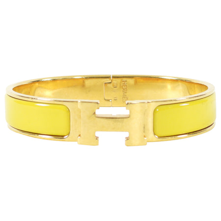 Hermes Clic H Narrow Gold and Yellow Bangle Bracelet - GM
