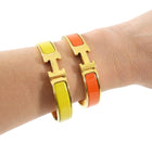 Hermes Clic H Narrow Gold and Orange Bangle Bracelet - PM