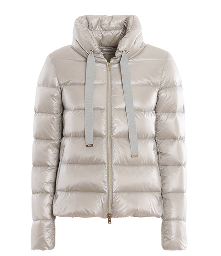 Herno Short Light Pearl Grey Puffer Coat with Wool Back - IT42 / 6