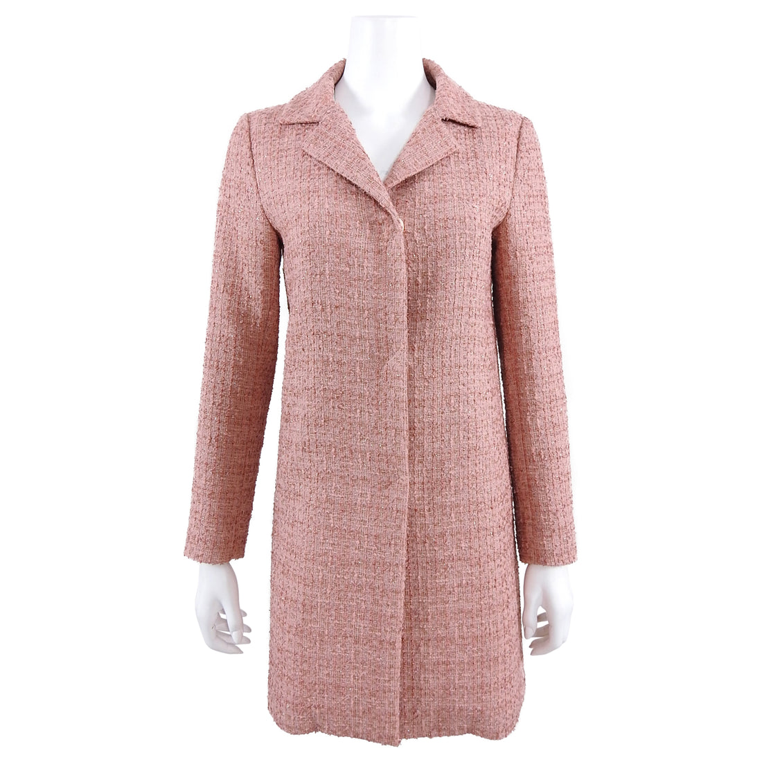 Herno Pink Quartz Tweed Spring Coat - IT42 / USA 6