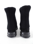 Hogan Black Suede Knit Sock Fold Down Boots - 37
