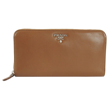 Prada Brown Cannella Soft Calf Zip Leather Wallet