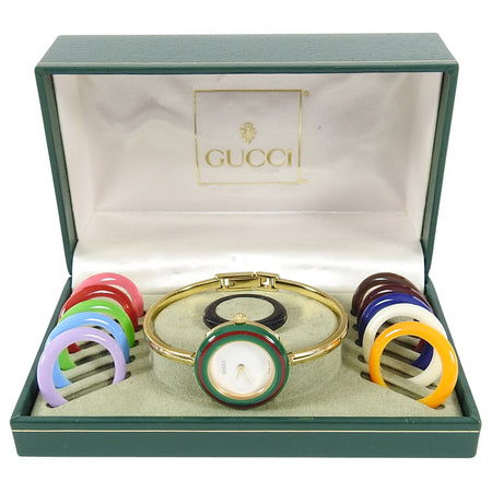 Gucci 1980's Vintage Interchangeable Bezel Bracelet Watch