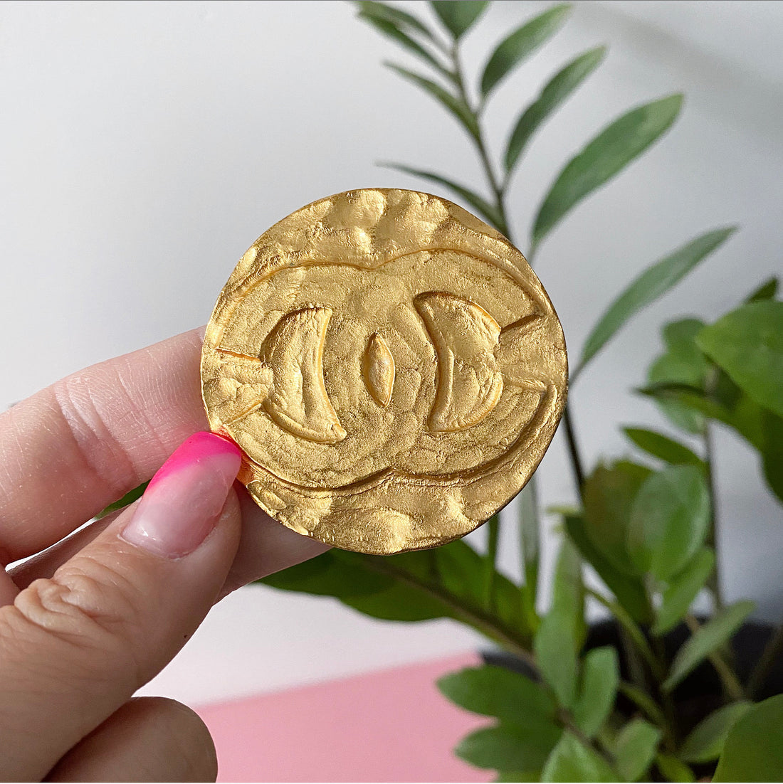 Chanel Large Matte 1994 P CC Logo Gold Brooch Pin