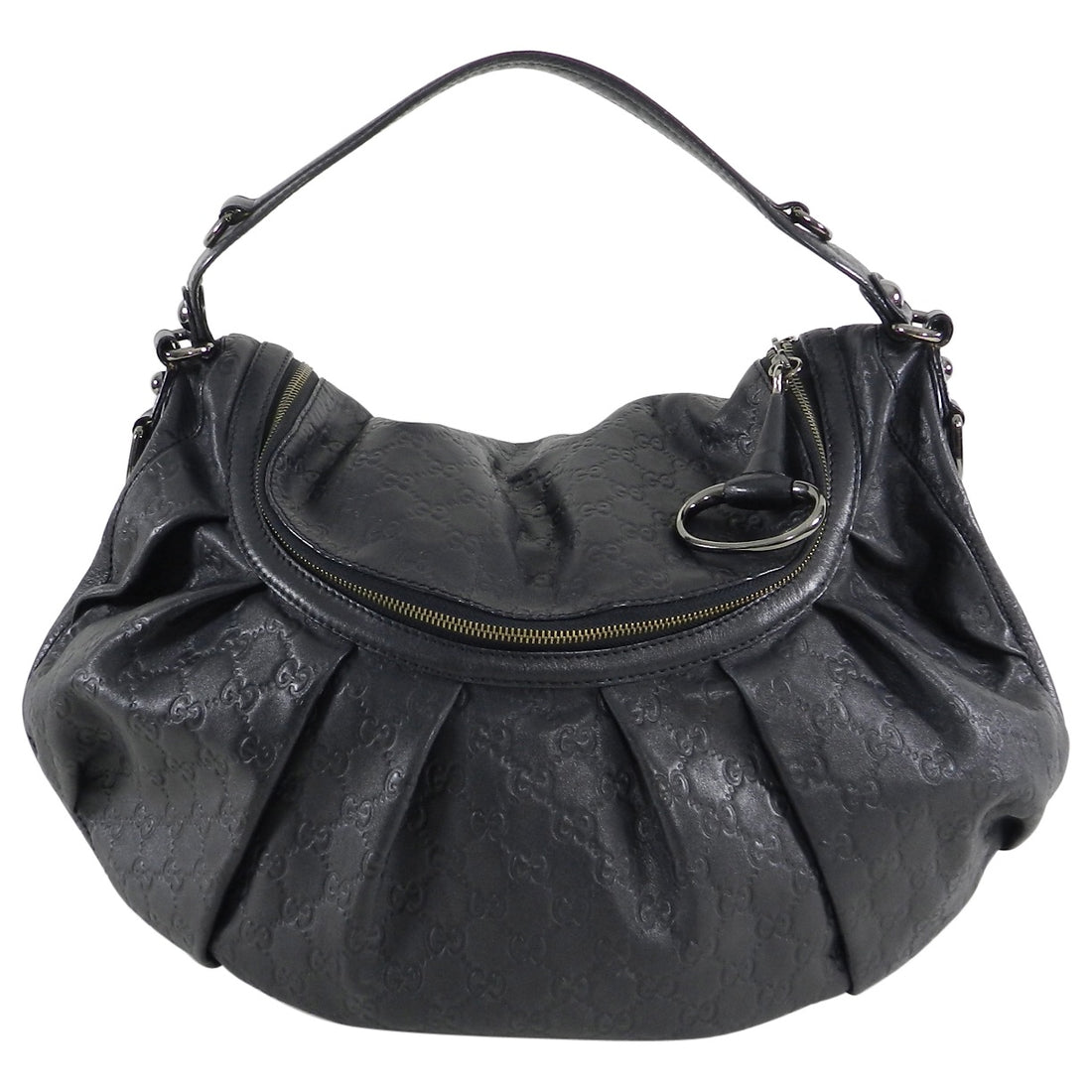 Gucci Black Monogram Leather Guccissima Hobo Bag