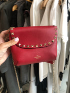 Valentino Rock Stud Small Red Double Pouch Chain Strap Bag