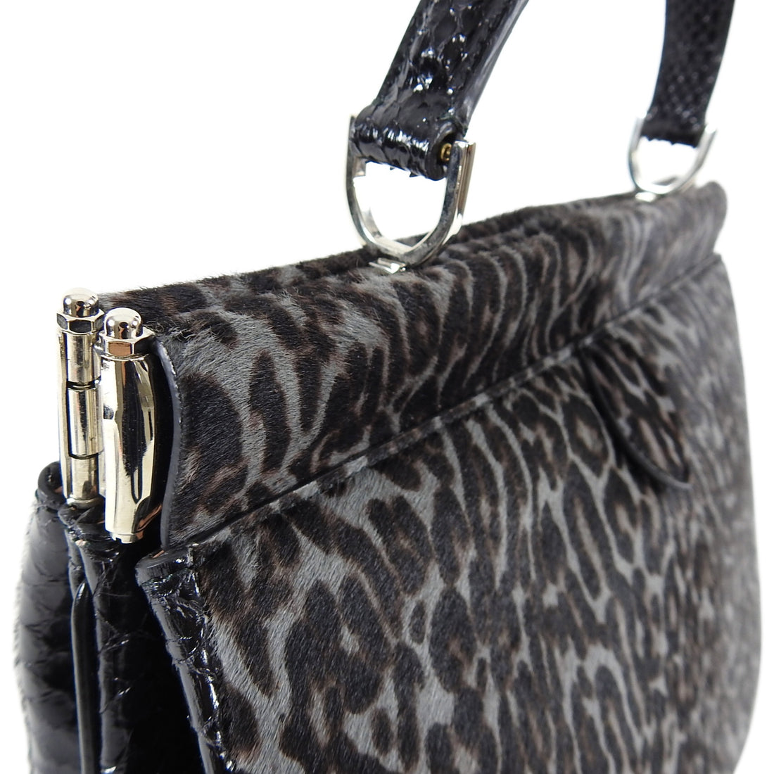 Alaia Grey Leopard Calf Hair and Python Docteur Bag