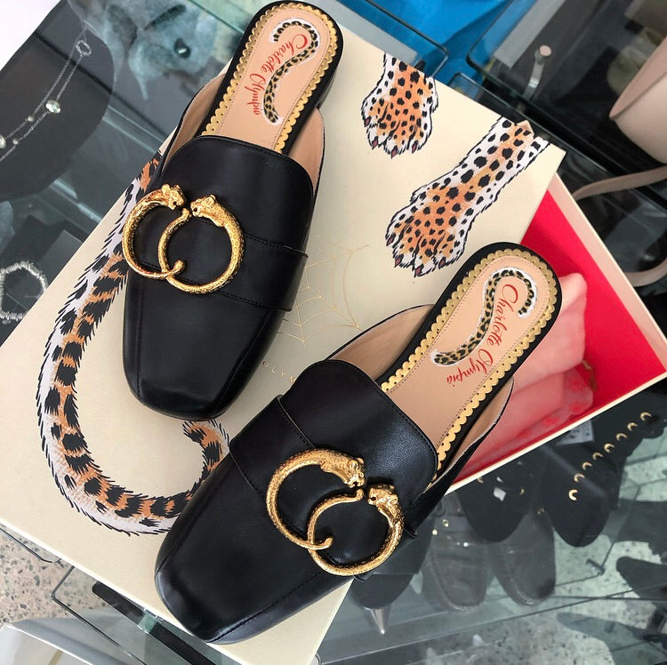 Charlotte Olympia Black Taranto Slippers with Feline Detail - 35.5