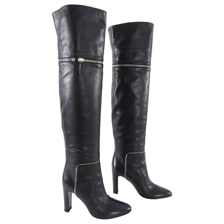 Giuseppe Zanotti Over the Knee Black Zipper Boots - 41